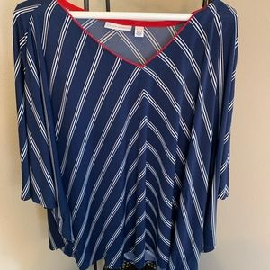 Batwing Susan Graver Navy striped  Blouse xl